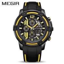 MEGIR relojes de cuarzo con esfera grande para hombre, cronógrafo de silicona, militar, deportivo, Masculino