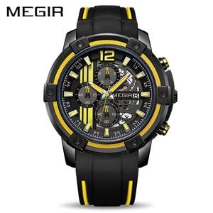 Image 1 - Megir grande mostrador de quartzo relógios masculinos com cronógrafo silicone militar relógio esporte masculino moda relógios de pulso