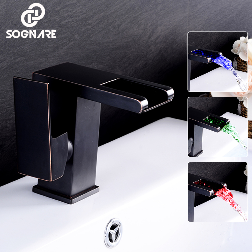 SOGNARE LED Bathroom Basin Faucet Cold and Hot 3 Color LED Light Water Faucet Tap Deck Mounted Solid Brass Water Mixer Tap,Black black led light waterfall deck mounted dual handles bathroom basin faucet tap with hot cold water glass spout