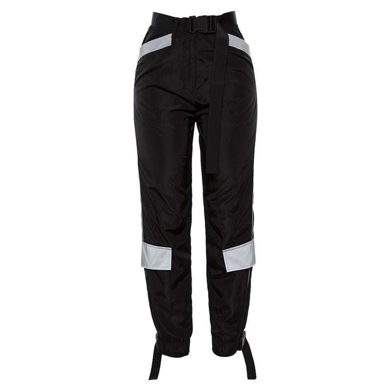 2019 Streetwear Cargo   Pants   Women Casual Joggers Black High Waist Loose Female Trousers Korean Style Ladies   Pants     Capri   L190