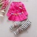 BibiCola bebê meninas outono e inverno crianças roupas para o bebê flor bonito shirt + listrado calças de algodão miúdo roupas conjunto