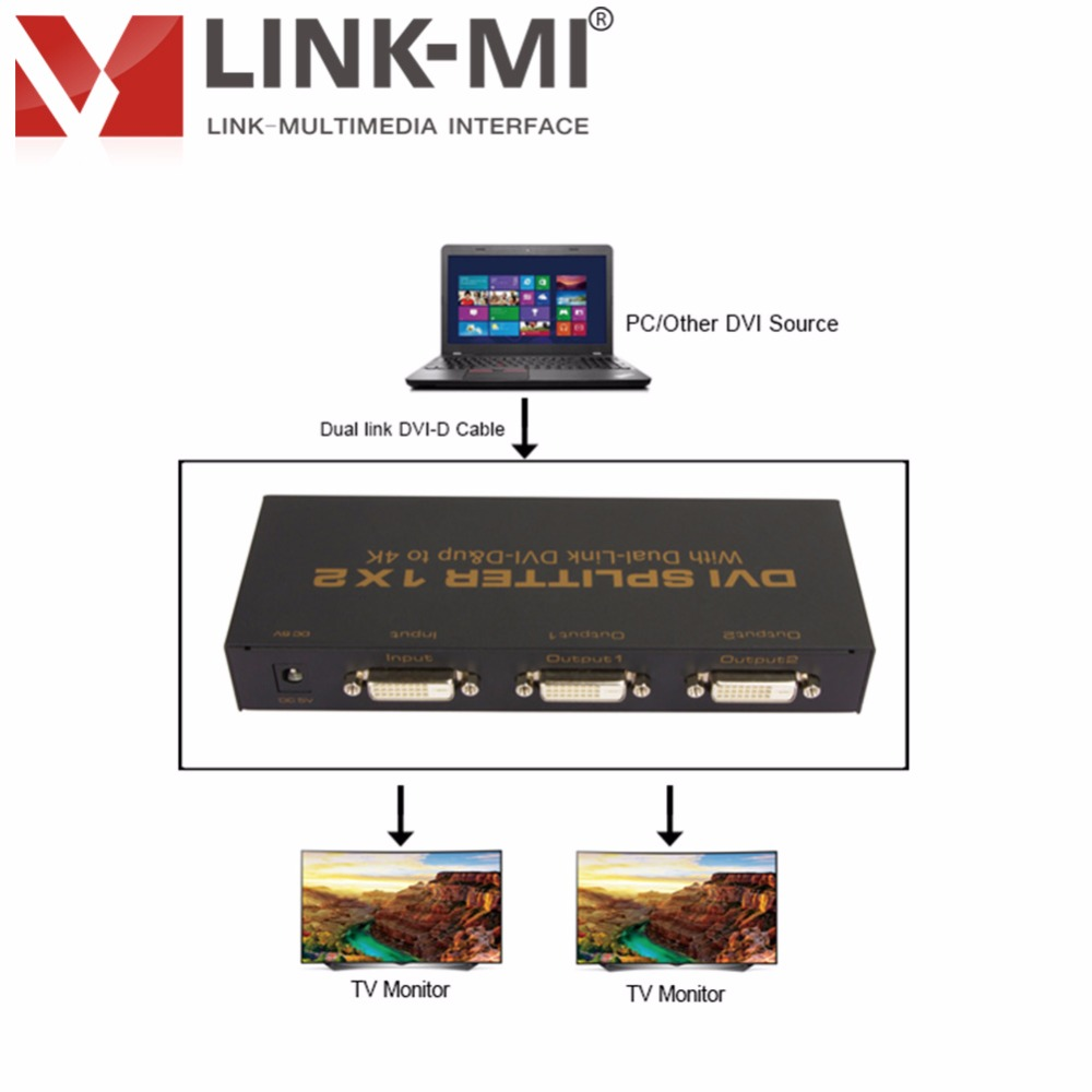 LINK MI LM DVI 102 Dual Link DVI D Interface 340MHz splitter 1x2 Up to 3840x2160@30Hz DVI D Video Splitter up to 1920x1080@60Hz|video splitter|splitter 1x2|splitter video - title=