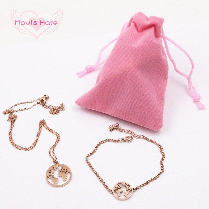 Mavis Hare Acero inoxidable 15mm el mundo mapa pulsera con 20mm mapa colgante collar conjunto incluye 7*9 cm bolsa de franela rosa