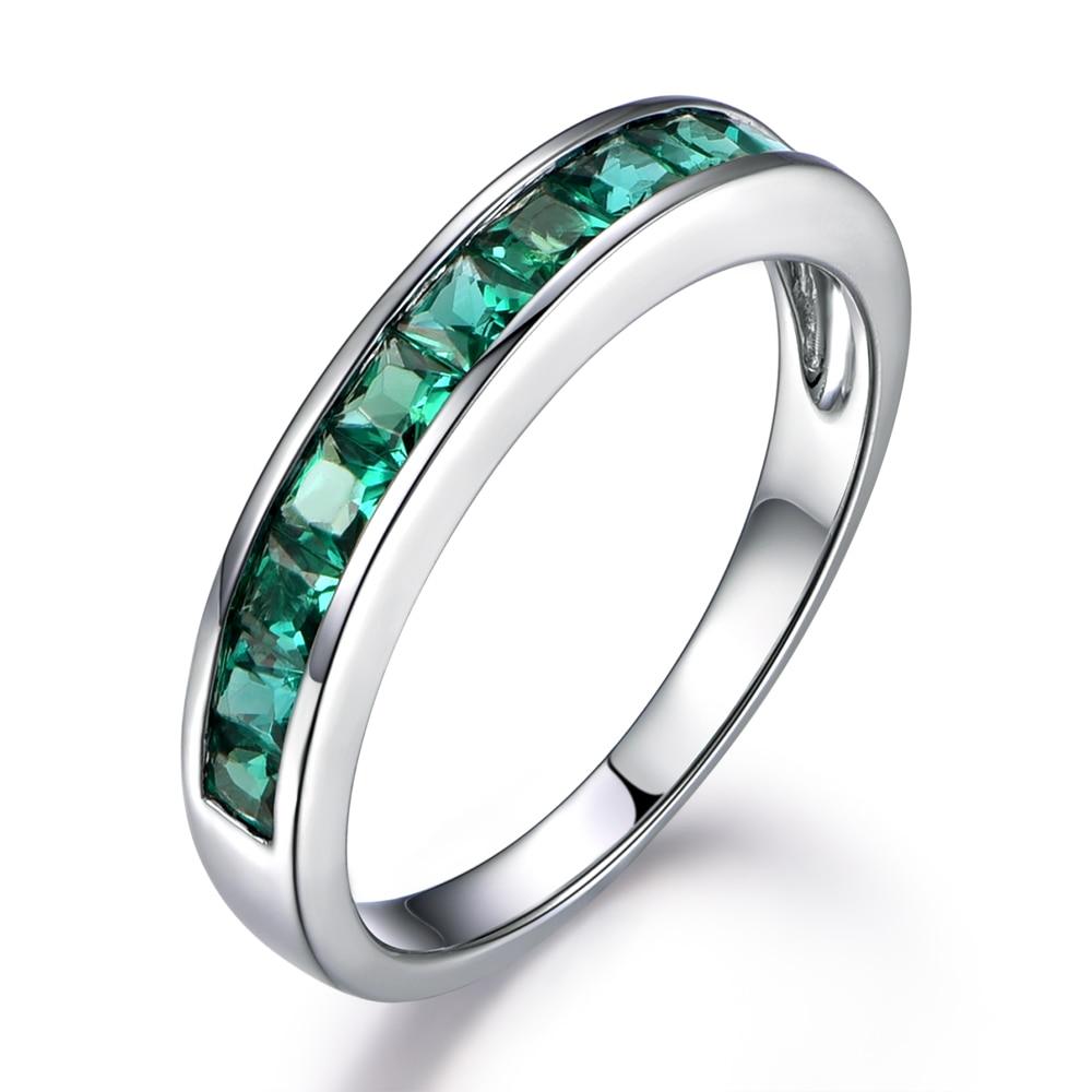 MYRAY Treated Princess Cut Green Emerald 14k White Gold Half Eternity Stacking Ring Engagement Rings Wedding Couple Luxury band