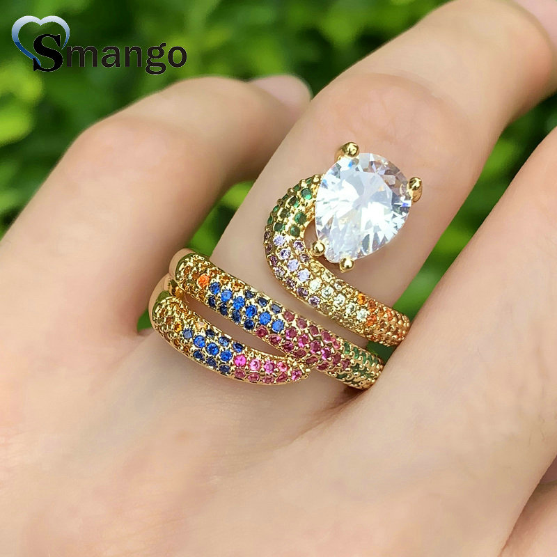 Adjustable Rings Women Fashion Jewelry CZ Setting The Rainbow Series Snake Shape Gold Color Plated 5pcs in Rings from Jewelry Accessories