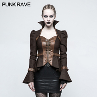 2018 Punk Rave Steampunk Trumpet Sleeve Short Jacket Steam punk rock fashion women cosplay sexy motocycle style cool coat Y778