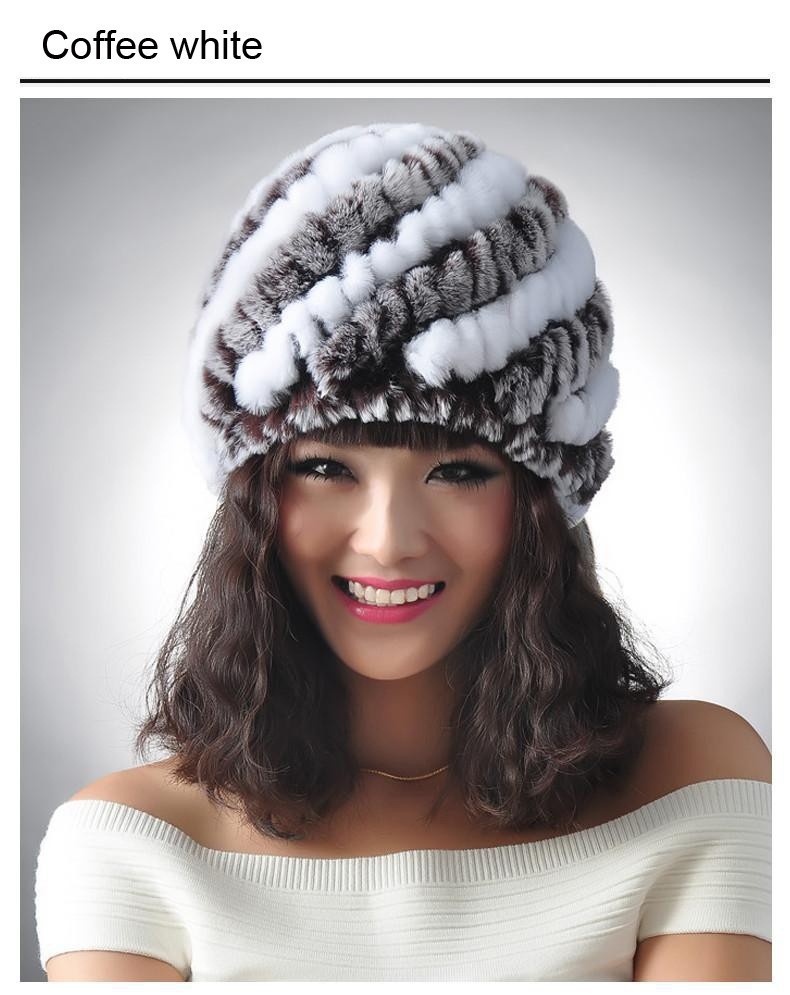 New Knitted genuine natural REX rabbit fur hat cap headgear headdress women warmer font b skullies
