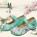 Chegada nova old pequim meninas shoes chinês calcanhar plano com flor bordado macio e confortável sapatas de lona shoes crianças shoes c171