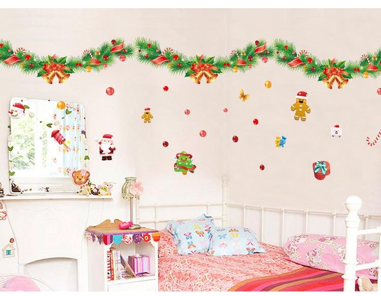 Jingle Bells Vánoční samolepky na zeď Vinylové samolepky pro Windows Šťastný Nový Rok dekorace pegatinas pared autocollant nástěnná malba