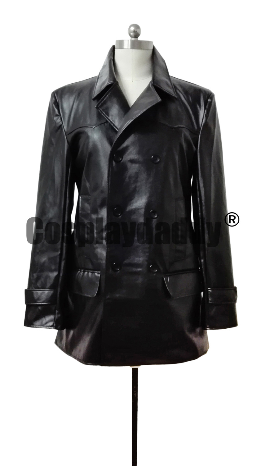 DR. WHO THE 9TH DOCTOR COSTUME BLACK LEATHER JACKET COSPLAY COSTUME