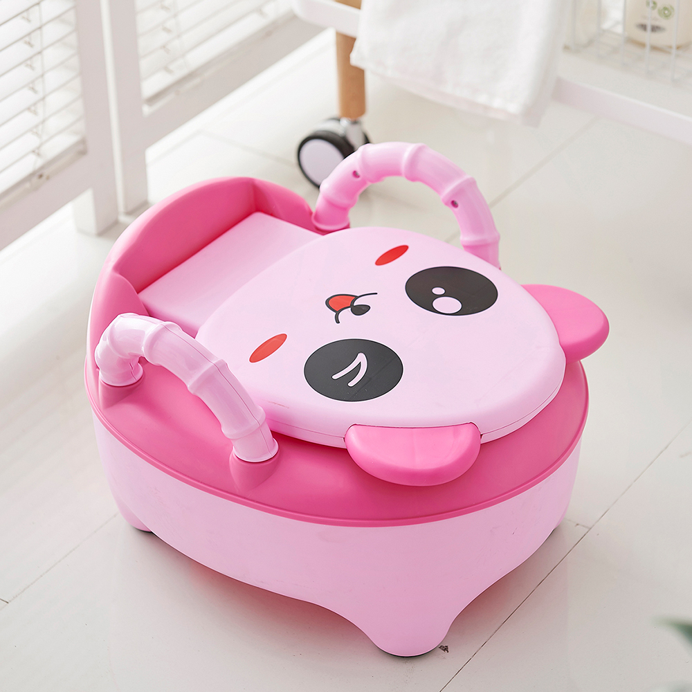 New Arrivals Kids'Toilet Drawer Type Cartoon Panda Urinary Bucket Handrail Cushion Flushing Toilet Easy Cleaning Safety Potties