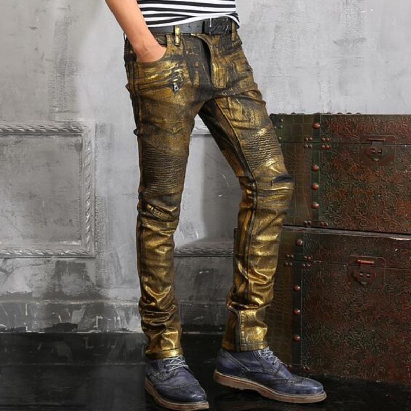 HTB139VySXXXXXbzXXXXq6xXFXXXu - New Top Quality Spring New Fashion Mens Punk Silver Paint Pants Slim Fit Long Mid Waist Skinny Jeans Causal Trousers Size 28-42