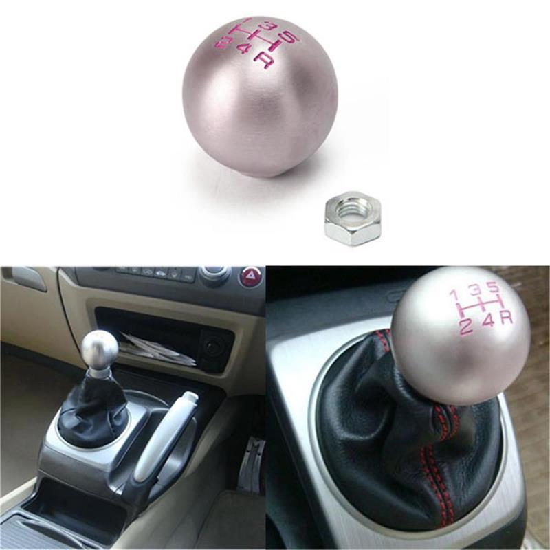 Partol 5 Speed Gear Shift Knob Ball JDM Racing Shifter Knob Aluminum Round For Honda Civic Manual Transmission Lock Nut Billet 22