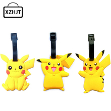 Travel Accessories Luggage Tag Cute Cartoon Silica Gel Pokemon Go Pikachu Suitcase Baggage Boarding Tags Portable Label