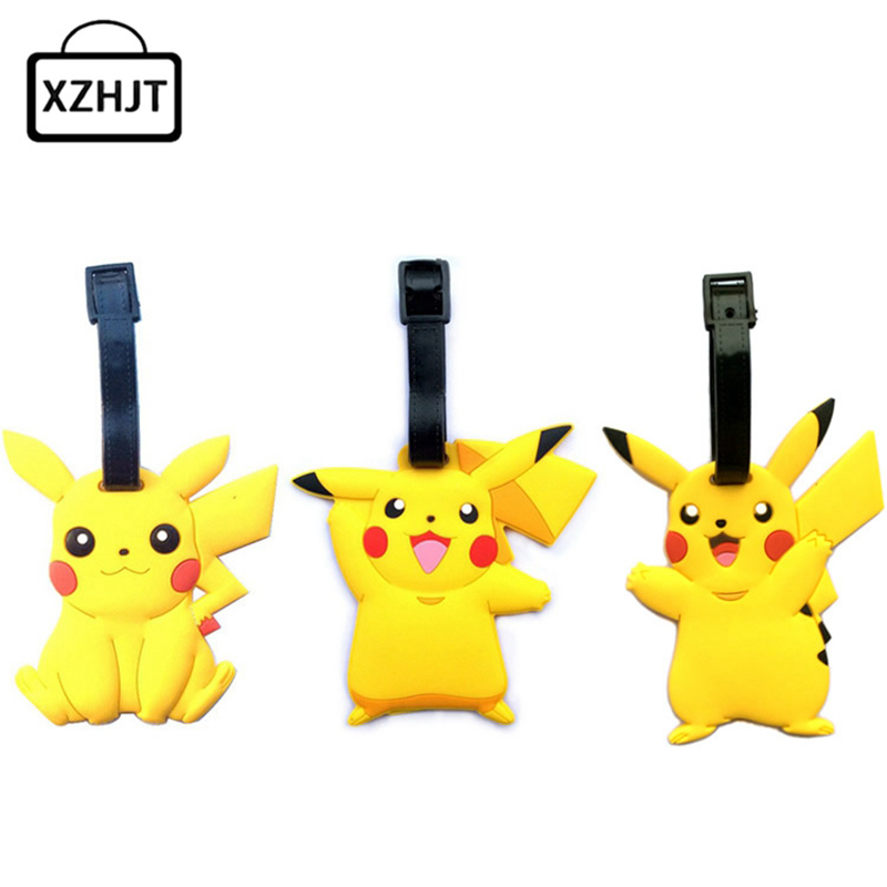 Travel Accessories Luggage Tag Cute Cartoon Silica Gel Pokemon Go Pikachu Suitcase Baggage Boarding Tags Portable Label 5 pcs lot cartoon anime wallet wholesale nintendo game pocket monster charizard pikachu wallet poke wallet pokemon go billetera