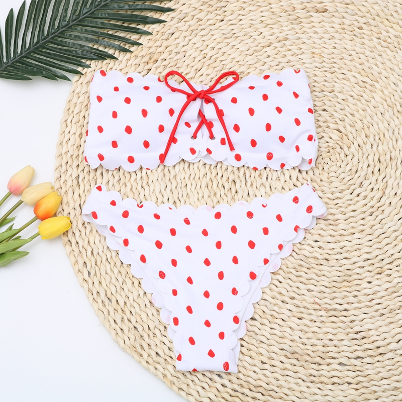 Sexy Polka Dot Bikini Women 2020 Two Piece Swimsuit Push Up Swimwear Floral Side Bathing Suit Brazilian Beach Wear Swimming Suit 2