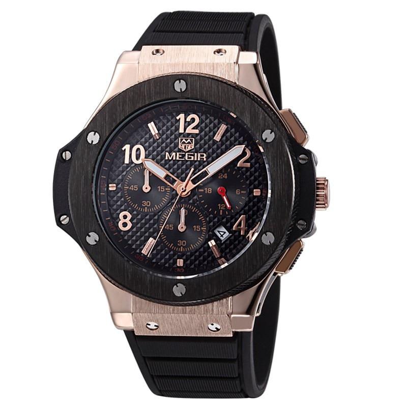 MEGIR New Fashion Military Men's Watches Army Calendar black Big Face rubber Quartz Sports Waterproof Male Gifts Wristwatches new army bowie black