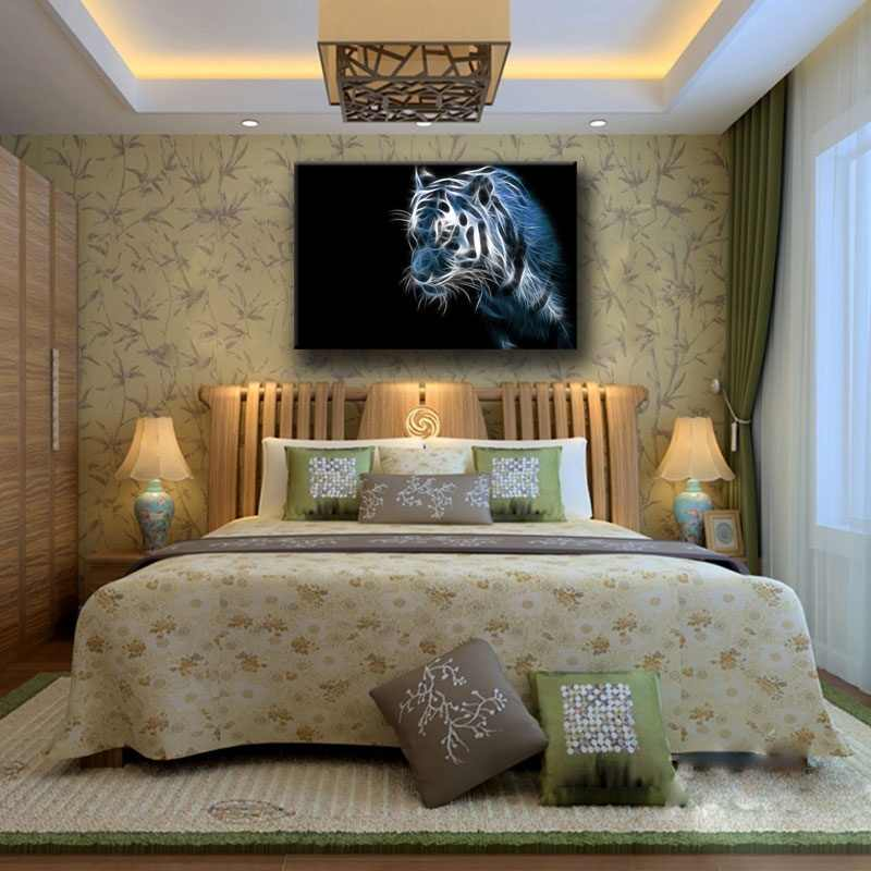 Hot Sale Canvas Wall Art Pictures Framed 1 Piece Abstract Tiger Light Painting For Living Room Prints Animals Poster Home Decor