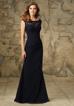 2016 Wedding Party Dress Fitted Maid of Honor Gown Chiffon Pleated Long Lace Navy Blue Bridesmaid Dresses with Cap Sleeves BD9