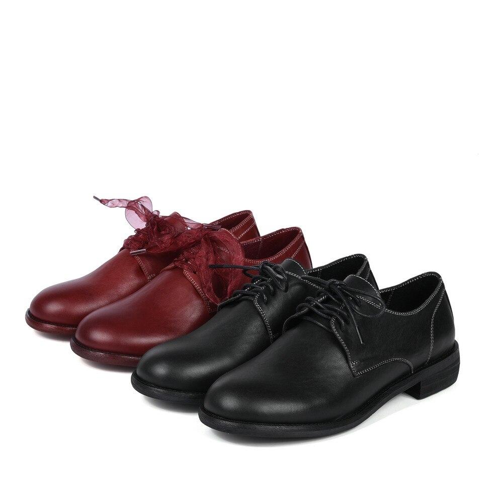 Jusqu'à Noir Automne Pour Véritable forme Aiweiyi Appartements Dentelle Rouge Cuir En Oxford Femme La Black Casual Chaussures Plate red Femmes Printemps W0vZvqO
