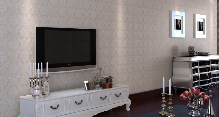 Silver wallpaper for living room home design for Grey silver wallpaper living room