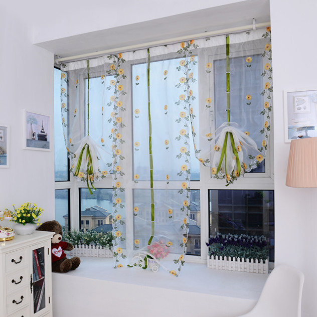 Tulle Window Curtains Drapes Diy Cool Hot Sale Romantic See Through Flower  1*0.8m Voile Sheer Curtains Decorative Bedroom Home-in Curtains from Home  ...