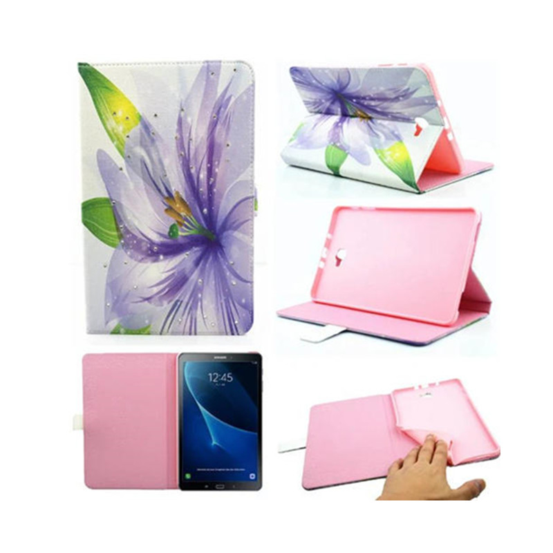 Luxury cartoon Gild Flower flip PU Leather case cover for Samsung galaxy Tab A A6 10.1(with S Pen) P580 P585 Tablet funda cases keymao luxury flip leather case for samsung galaxy s7 edge