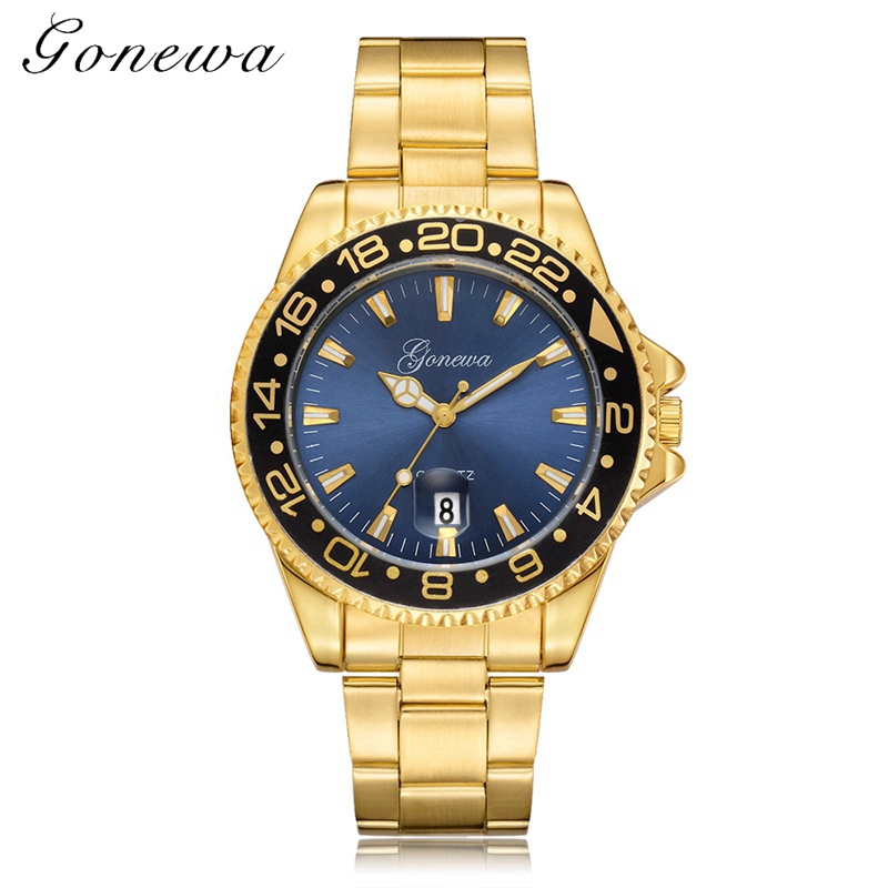 Gonewa Brand 2017 New Men Watches Fashion Casual Quartz Steel Strap Military Creative Business Male Clock Vintage Watch Gold chronos brand casual men watch women stainless steel mesh strap fashion dress watches male business quartz military clock ladies