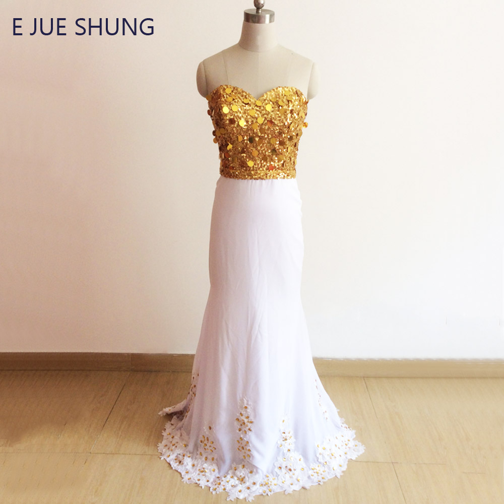 E JUE SHUNG Gold Sequin White Mermaid   Prom     Dresses   Gold Crystals Sweetheart Luxury Evening   Dresses   Formal   Dress   Galajurken
