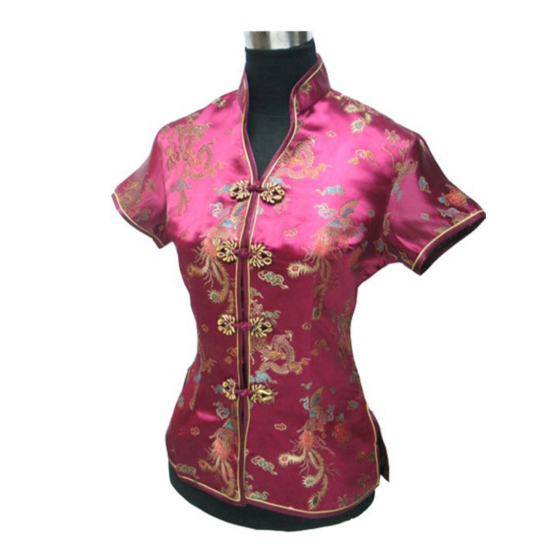 Burgundy Chinese Women Satin Rayon Tang Clothing Novelty Shirt Tops V-Neck Blouse Vintage Han Fu Top Size S M L XL XXL XXXL