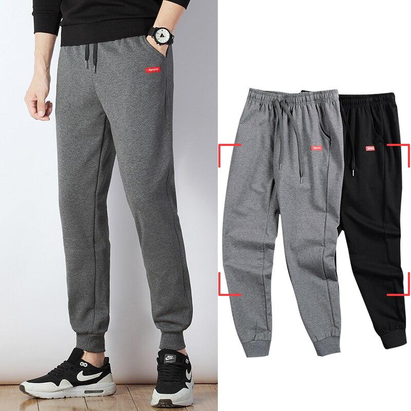 Мужские спортивные штаны, весенние штаны-шаровары размера плюс, хлопковые спортивные брюки, джоггеры, бодибилдинг, брюки-карандаш для фитне...