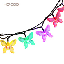 Holigoo 7M 40 LED Butterfly Solar String LED Strip Garland Waterproof Outdoor Christmas Garden Light String Decoration Lighting