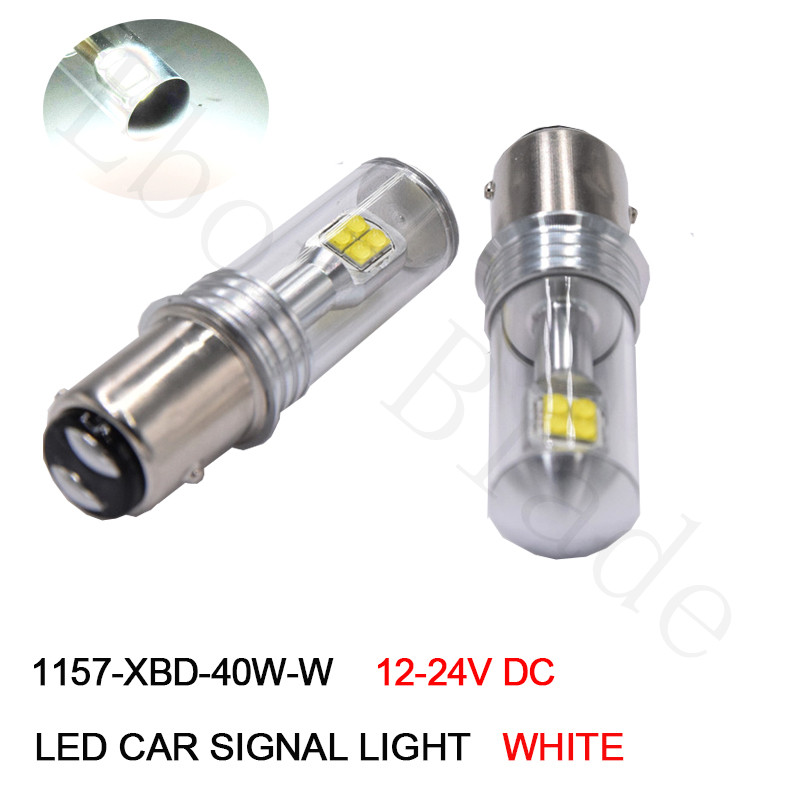 2Pcs Super White 1157 P21/5W LED Bay15d S25 XBD Chips 40W High Power Canbus Car LED Tail Brake Stop Parking DRL Light Bulbs