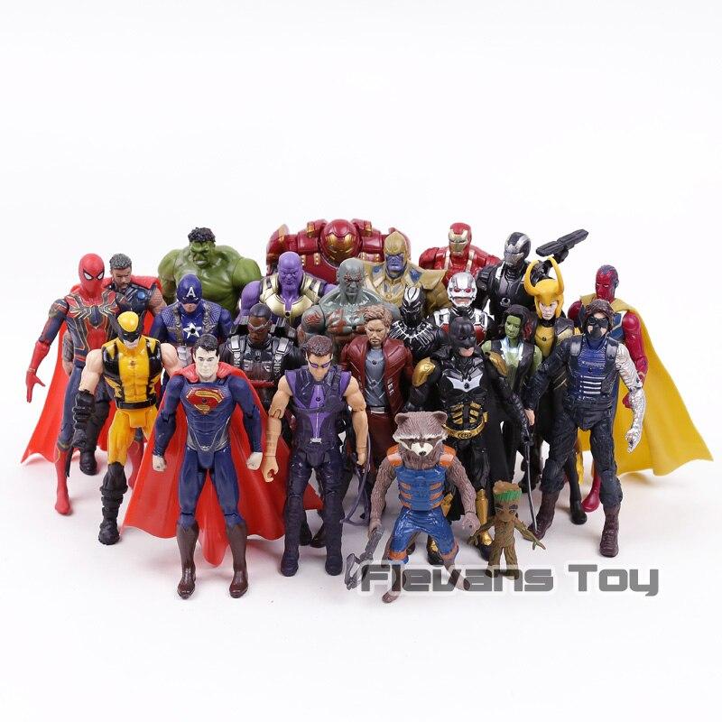Marvel Avengers 3 Infinity Guerre Thanos Iron Man Captain America Noir Panthère Star Seigneur PVC Figurines Jouets 24 pcs/ensemble