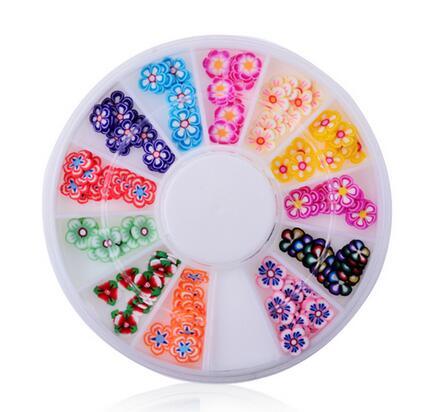 Hot sell DIY nail art decorations Wheel 12 mix colours petal Ruantao Nail Glitter Nail Rhinestones Wheel Nail Tools DIY