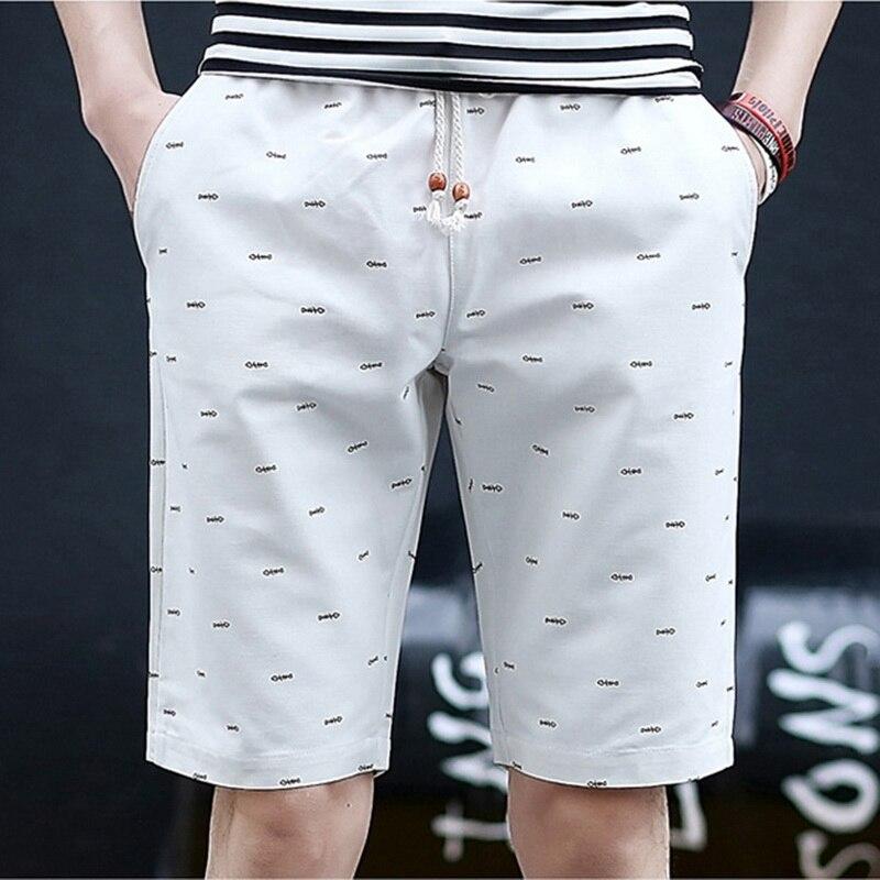 Mens Shorts Elastic-Waist Print Knee-Length Straight Summer Casual Fashion Solid Meskie