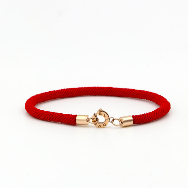 Stainless Steel Redline Bracelet Rose 18kgp Plated Bvlove Women Pulseiras Femininas Fashion Red