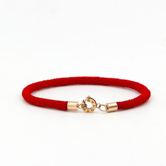 Stainless Steel Redline Bracelet Rose 18kgp Plated Bvlove Women Pulseiras Femininas Fashion Red