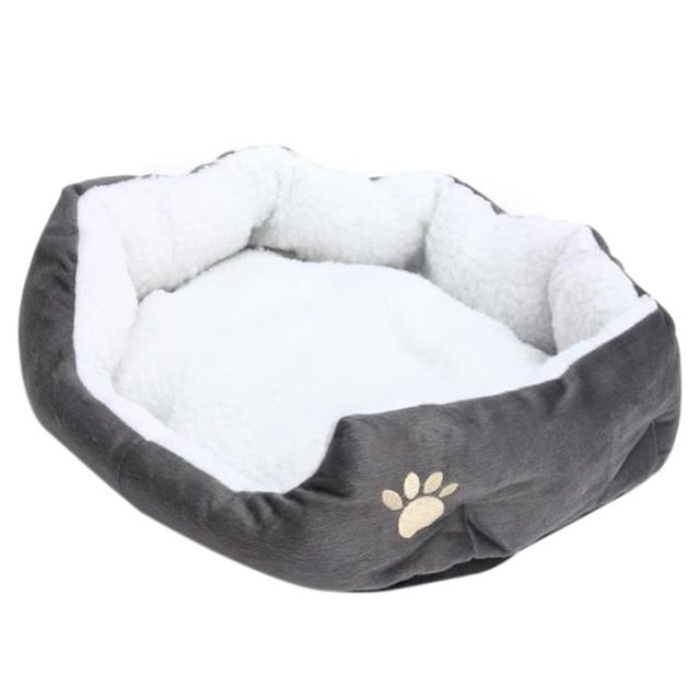 50 x 40cm Lambskin Dog Paw pattern Pet's Nest Warm Washable Bed Sleeping Fleece Basket with Cushion For Puppy Dog Cat Gray Col