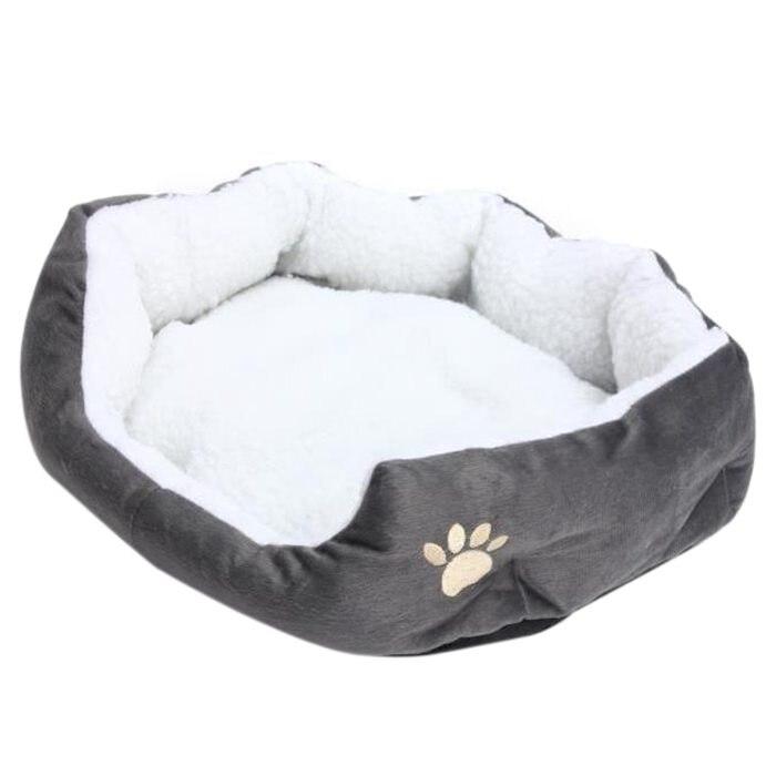 2019 Nieuwe Stijl 50x40 Cm Lamsvacht Hond Poot Patroon Huisdier Nest Warm Wasbaar Bed Slapen Fleece Mand Met Kussen Voor Puppy Hond Kat Grijs Col