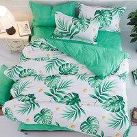 古典的な植物の葉緑白abサイド4ピース寝具セット子キッズ学生シングル