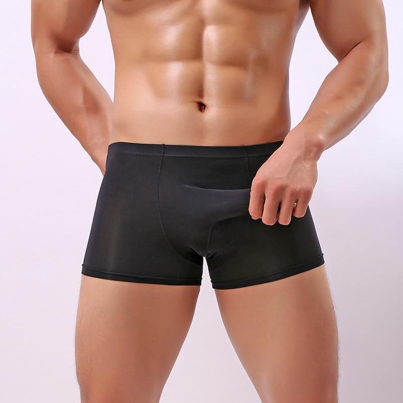 03ecb0b94 Sexy Homens Cueca Boxer Shorts de Seda Gelo Moda Design Elefante Nariz Dos Homens  Roupa Interior U Convexo Cuecas Gay Homem Calcinha em Boxers de Roupa ...