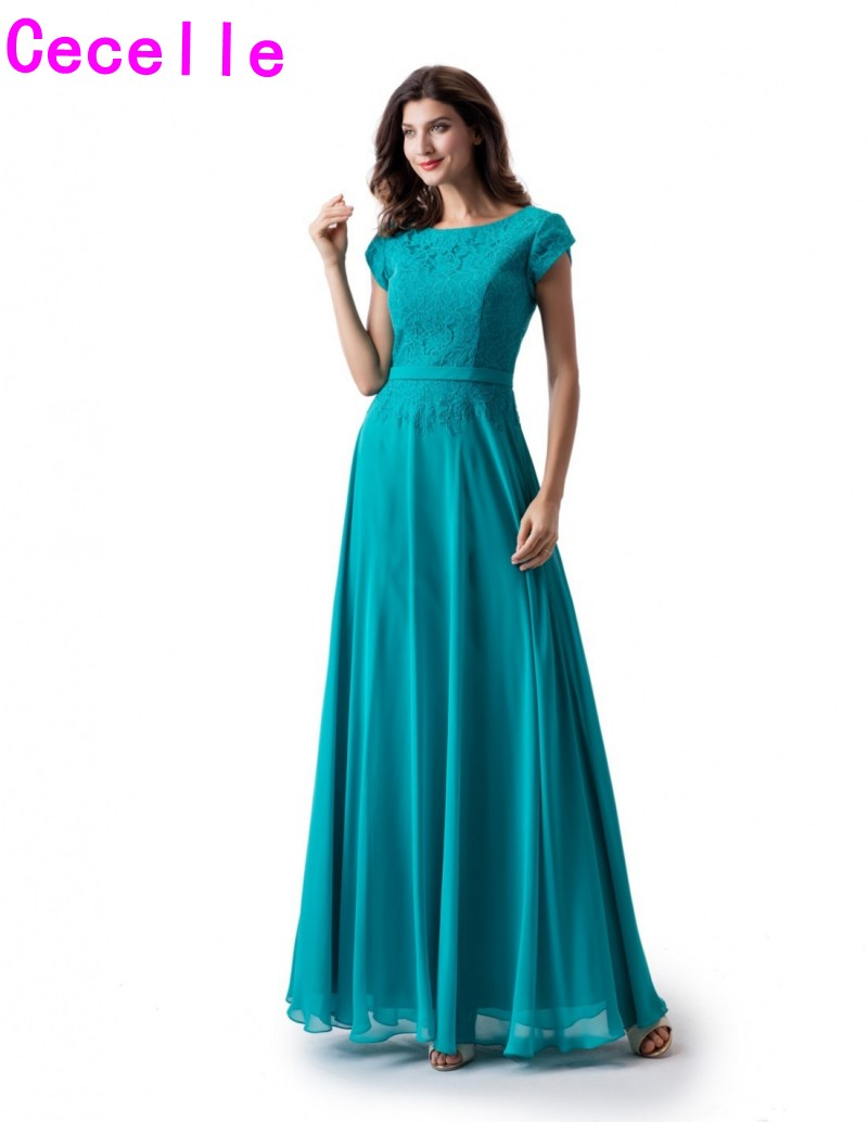 Turquoise Lace Chiffon A-line Long Modest   Bridesmaid     Dresses   With Cap Sleeves Jewel Adult Women Formal Maids of Honor   Dress