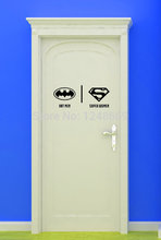 Free shipping Removable Batmen&superwomen Tolite Decoration Stickers Cute Fairy Bathroom Toilet Door WC indication Mark Stickers