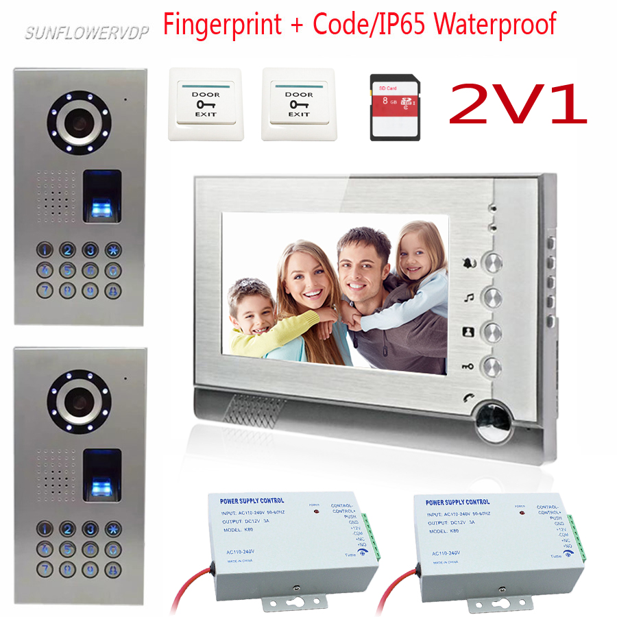 2 Doors Fingerprint Code Wired Intercom For An Apartment Video Recording 8GB SD Card Video Intercom Door Phone Kit 7 Color Lcd sunflowervdp wired video door phone 7inch tft color lcd inner door bell fingerprint code unlock touch button intercom video kit