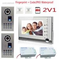 2 Doors Fingerprint Code Wired Intercom For An Apartment Video Recording 8GB SD Card Video Intercom Door Phone Kit 7 Color Lcd