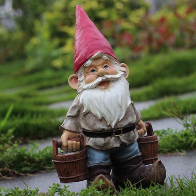 Poly Resin Creative Garden Gnome Elf Figurine Carry Water Courtyard Dwarf  Statue Home Garden Outdoor Decorations