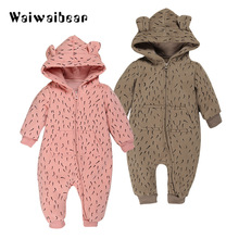 Baby Fleece Romper Autumn Winter Long- Sleeved  Hooded Rompers Overalls Leopard Toddler Clothing Jumpsuits