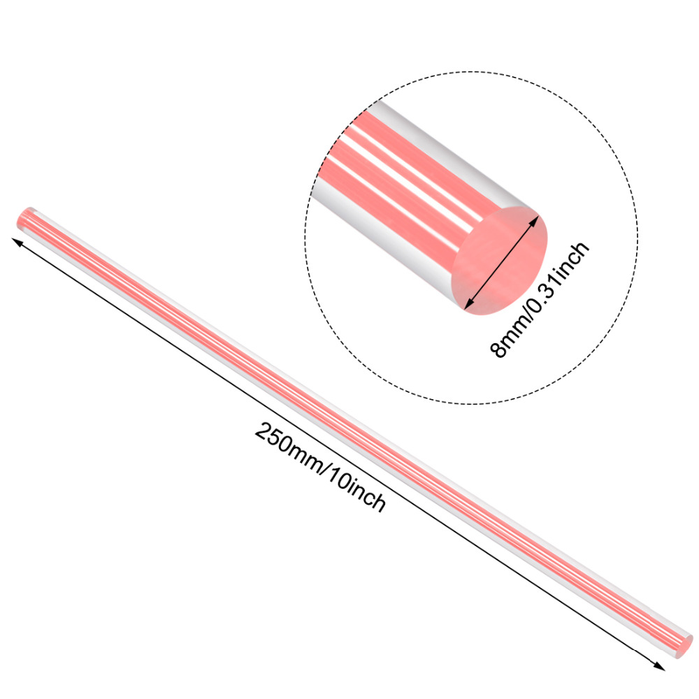 Uxcell 2pcs 8mmx250mm Pink/Dark Purple/White/Light Blue/Light Purple/Yellow Straight Line Solid Acrylic Round Rod PMMA Wand