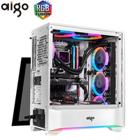 Aigo T20 Tempered Glass Computer Case for Home Office Gaming Desktop PC Computer Chassis Case ATX M ATX ITX USB Computer Case